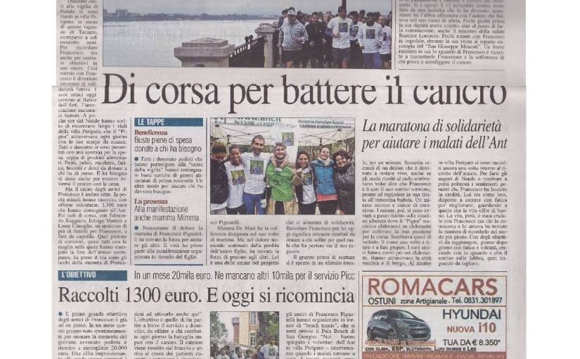 La mia beneficenza…in prima pagina
